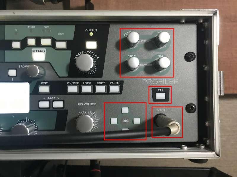 Kemperフロントパネル右:空間系の最適調整が可能